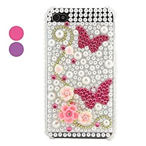 Butterfly Pattern Case for iPhone 4 and 4S (Assorted Colors) , Rose