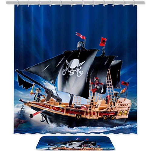 - imobaby Pirate Ship Waterproof Shower Curtain with Non-Slip Bath Mat Set, Water Absorbent Bath Mat 31