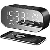 YOMYM BluetoothAlarm Clock, LED Large Display Digital Alarm Clock Travel Alarm Clock with Calendar, Temperature Display, Snooze Function, Smart Back-light Battery Operated for Home Office Travel Black