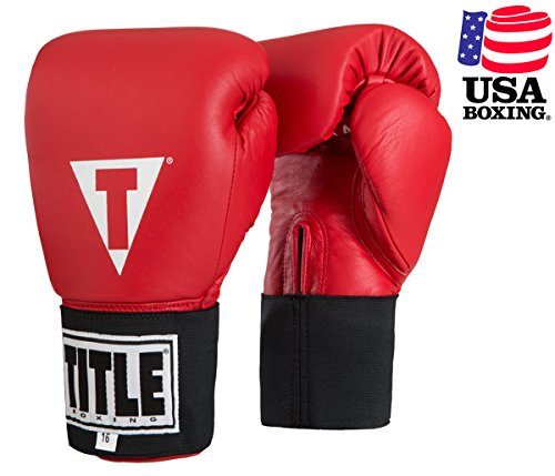 TITLE Masters USA Boxing Competition Gloves (Elastic), Red, 16 oz