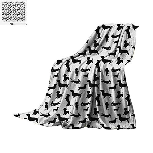 Taggies Sleeper (Dog Lover Super Soft Lightweight Blanket Monochrome Dachshunds in Numerous Stances Active Life Pet Canine Abstract Image Custom Design Cozy Flannel Blanket 60