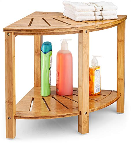 Bamboo Corner Stool Shower Bench - Wood Spa Bench with Storage Shelf for Bathroom Organization | Perfect for Indoor or - Bench Bathroom Accessories