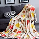 MisDress Super Soft Fleece Blanket Lightweight Throw Plush Cozy Bed Couch Blanket with Elephant Pattern Full/Queen Size 78''x90''