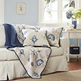 Madison Park Bayside Luxury Oversized Quilted Throw Ivory Navy Blue 60x70 Coastal Premium Soft Cozy Microfiber Bed, Couch Sofa