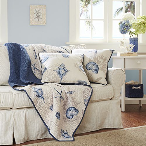 Madison Park Bayside Luxury Oversized Quilted Throw Ivory Navy Blue 60x70   Coastal  Premium Soft Cozy Microfiber For Bed, Couch or Sofa