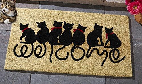 Welcome Kitties Cat Lovers Entrance Outdoor Coco Front Door Mat, Brown