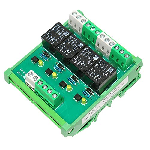 GAEYAELE 4 Channel 1 SPDT DIN Rail Mount 12V 24V DC/AC Interface Relay Module (FY-T734-12VACDC)
