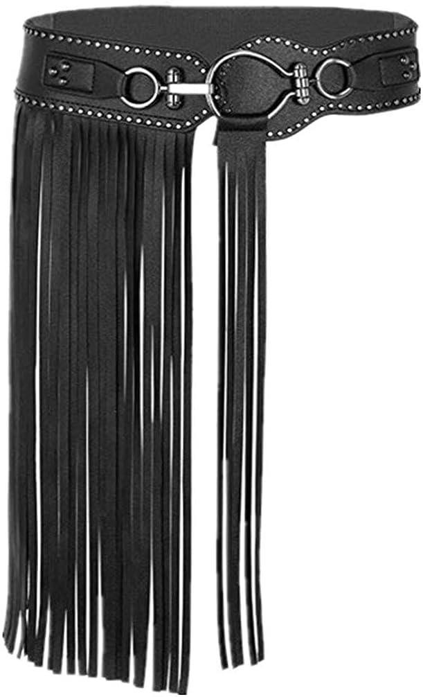 TENDYCOCO Cinturón con Flecos de Cuero Falda con Borlas Punk Cinturón Ancho con Remaches para Mujeres Damas Niñas - Talla S