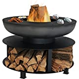 Sunnydaze Large Outdoor Fire Pit with Cooking Ledge and Built-in Log Storage, Wood Burning Fireplace, Black, 40 Inch