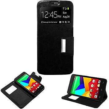Donkeyphone - Funda Flip Cover Negra para BQ AQUARIS E5S / E5S Lite / E5S Essential / E5 4G / FNAC 2 5