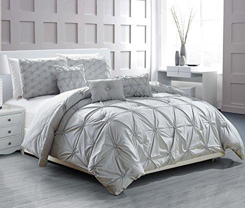 Mist Pillow Sham (Woven Trends Mist 6-Piece Smocked Comforter Set with 2 Shams & 3 Decorative Pillows - King Size)