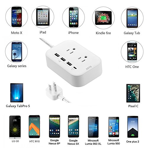 JOTO 2 Outlet Surge Protector Power Strip with USB Smart Charger (4 Port,5V 7.4A),with Type C Charging Port, 6.6ft Long Cord Extension, Home Office Desk Nightstand Travel Charger Station -White by JOTO (Image #4)