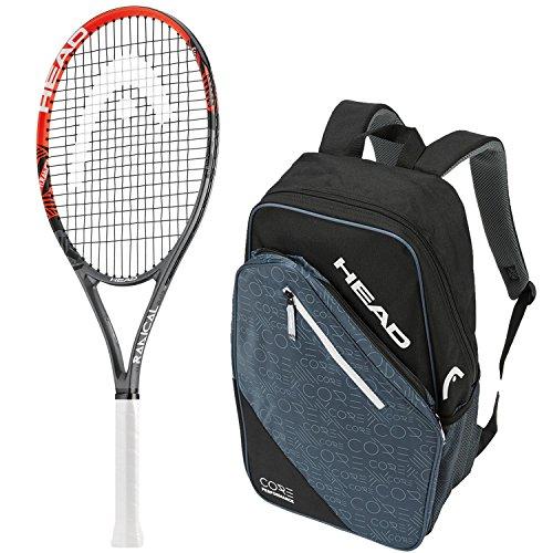 Tennis Radical Ti Racket - Head Ti.Radical Elite Pre-Strung Tennis Racquet (Grip Size 4 1/2) bundled with a Core Tennis Backpack