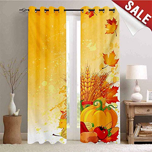 Hengshu Harvest Room Darkening Wide Curtains Vivid Festive Collection of Vegetables Plump Pumpkins Wheat Fall Leaves Waterproof Window Curtain W72 x L96 Inch Earth Yellow Green Red