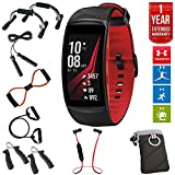 Samsung Gear Fit2 Pro Fitness Smartwatch - Red, Large (SM-R365NZRAXAR) + Fusion Bluetooth Headphones + Gear Black Jacket Case + 7-in-1 Total Resistance Fitness Kit + 1 Year Extended Warranty