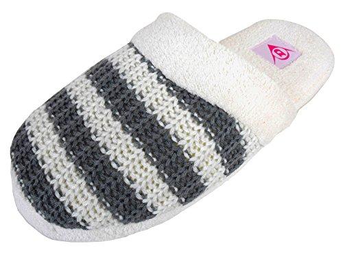 Dunlop Ladies Mules Comfort Slipper Womens Mule Slippers Knitted Stripe Design Grey / Cream Stripe GrY0IrJmu