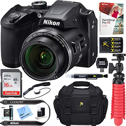 - Nikon COOLPIX B500 16MP 40x Optical Zoom Digital Camera w/Built-in Wi-Fi NFC & Bluetooth (Black) + 16GB SDHC Accessory Bundle