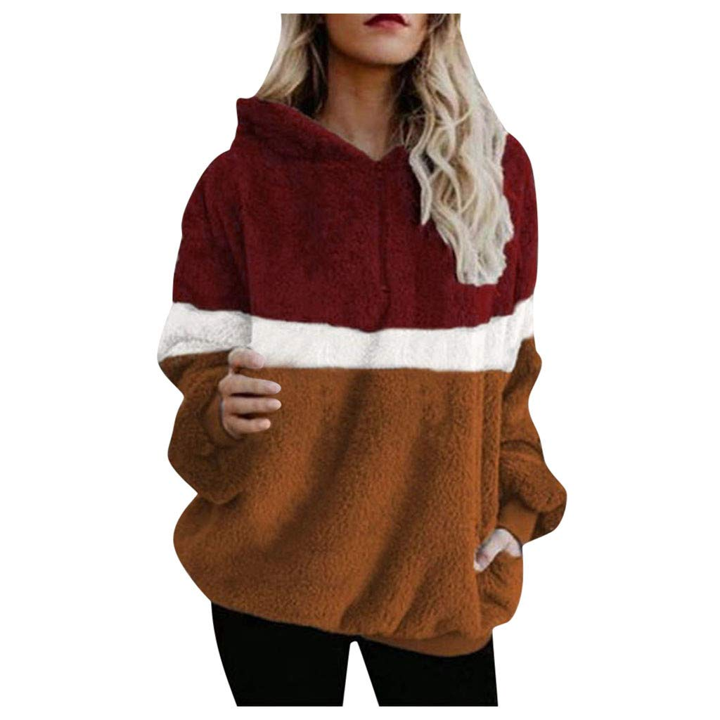 TozuoyouZ Women Hoodie Oversized Warm Fuzzy Pullover Sweatshirt Casual Loose Pullover Splice Outwear with Pockets (Red,S) by TozuoyouZ