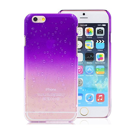 Purple Rain Drop Design Phone Case Cover for iPhone 6 and 6S with Screen Protector and Cable Protector Included