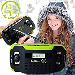 New Re-Wind - Wind-up, Solar Powered Rechargeable Radio, AM/FM, Built-in LED Torch, LCD Display, Alarm Clock, Headphone Socket - Eco Freindly
