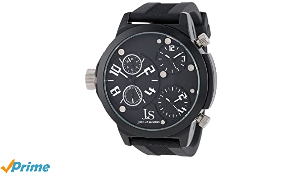 Amazon.com: Joshua & Sons Mens JS-40-WT Quartz Triple Time Zone Rubber Strap Watch: Watches