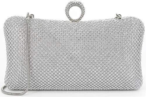 Dexmay Ring Rhinestone Crystal Clutch Purse Luxury Women Evening Bag for Bridal Wedding Party ()