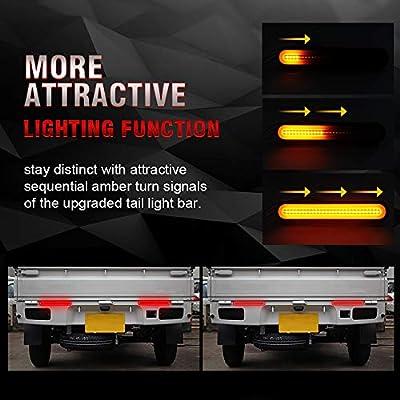 "MIHAZ Trailer Tail Light Bar - 9"" Running, Brake, Sequential Amber Turn Signal Tail Light for Trailer Truck RV Pickup SUV RV Van, Red/Amber 2Pcs 1yr-Warranty: Automotive"