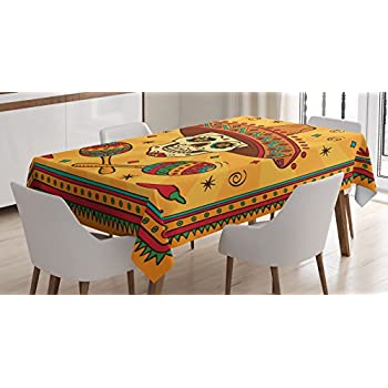 Mexican Decorations Tablecloth by Ambesonne, Mexican Sugar Skull Cartoon Carnival Cartoon Traditional Celebration, Dining Room Kitchen Rectangular Table Cover, 52 X 70 Inches