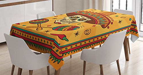 Ambesonne Mexican Decorations Tablecloth by, Mexican Sugar Skull Cartoon Carnival Cartoon Traditional Celebration, Dining Room Kitchen Rectangular Table Cover, 52 X 70 inches ()