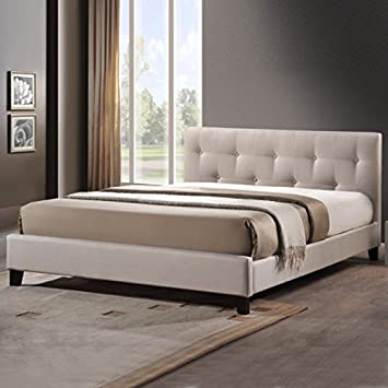 Modern Button Tufted Upholstered Padded Square Queen Low Headboard and  Platform Bed in Light Beige -