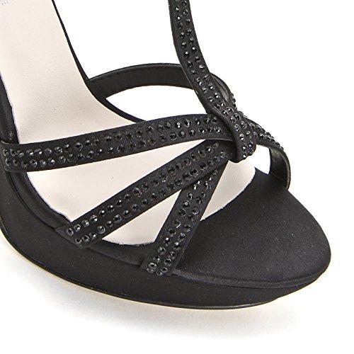 ALESYA by Scarpe&Scarpe - Sandalias altas con T-bar y estrás, con Tacones 10 cm Negro