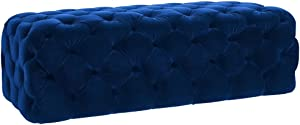 TOV Furniture The Kaylee Collection Modern Style Living Room Jumbo Velvet Upholstered Button Tufted Ottoman, Navy