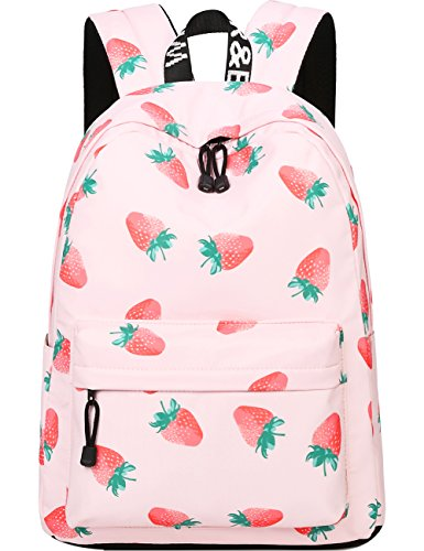 Backpack for Teens, Fashion Strawberry Pattern Laptop Backpack College Bags Women Shoulder Bag Daypack Bookbags Travel Bag by Mygreen (Pink)
