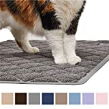 Gorilla Grip Original Premium Durable Cat Litter Mat (35x23), XL Jumbo, No Phthalate, Water Resistant, Traps Litter from Box & Cats, Scatter Control, Soft on Kitty Paws, Easy Clean Cat Mat (Gray)
