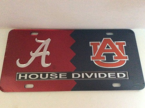University of Alabama/ Auburn Tigers House Divided Laser Cut License Plate Tag