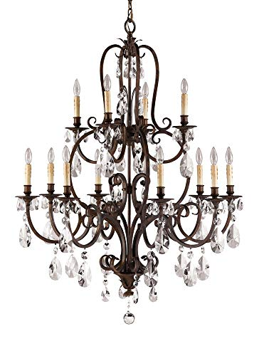 (Murray Feiss Lighting F2229/8+4ATS Salon Ma Maison Collection Chandelier - 2 Tiers, Aged Tortoise Shell Finish )