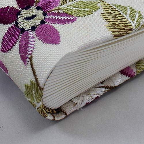 Handarbeit der Buchbinderei Vera Donna Foto-G/ästebuch Milla mit Blumenstickereien und Schleife zum Verschlie/ßen Fotoalbum und G/ästebuch in einem