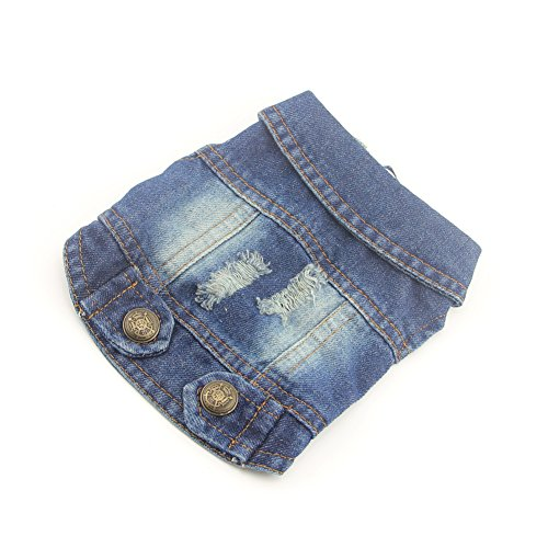 DOGGYZSTYLE Pet Vests Dog Denim Jacket Hoodies Puppy Jacket for Small Medium Dogs (M, Blue)
