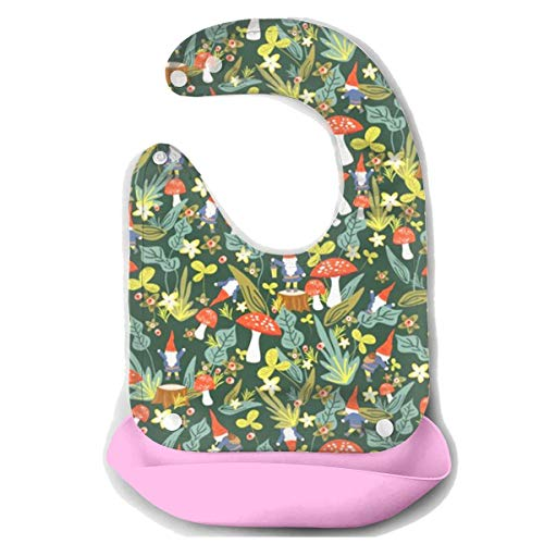 OURFASHION Woodland Gnomes Silicone Bib Waterproof Adjustable Snaps Baby Bibs for Infants and Toddlers Unisex ()