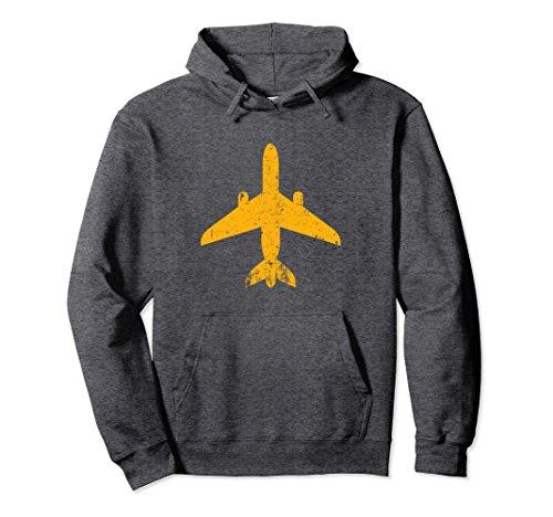 Unisex Aviation Vintage Jet Airplane Hoodie - Airline Pilot Gift XL Dark ()