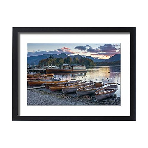 Robert Harding Framed 24x18 Print of Rowing boats for hire, Keswick, Derwentwater, Lake District (Keswick Boat)