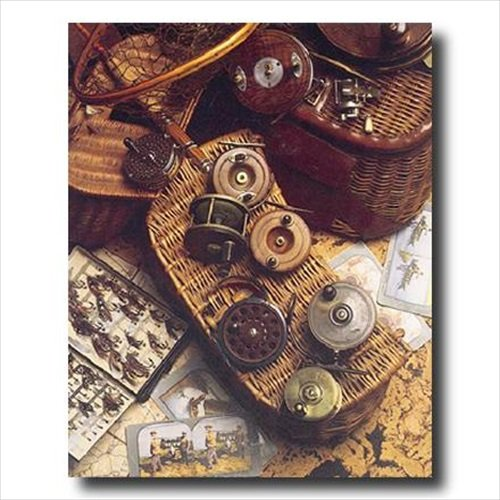 Old Fly Fishing Rod And Antique Reels Lures Cabin Wall Picture Art Print ()