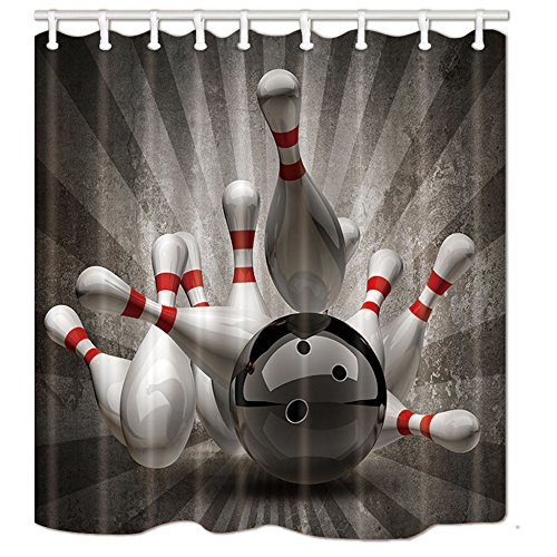 - Sports Theme Shower Curtains, Bowling Ball Knocked Down Bowling Pins Bath Curtain, Polyester Fabric Bathroom Curtain with 12 Hooks, 69X70 Inches