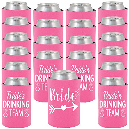 Shop4Ever Bride and Brides Drinking Team Can Coolie Wedding Drink Coolers Coolies Neon Pink - 24 Pack