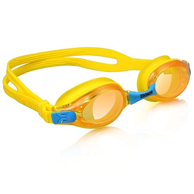 Gafas De Natación para Niños, ZIONOR K1 Gafas De Natación - Anti-Niebla 3 juegos de puentes de nariz reemplazables Protección UV Impermeable Las correas ...