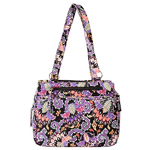 Waverly Triple Entry Satchel (Quilted Black/Multi Paisley)