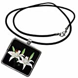 3dRose Florene Flowers - White Water Lillies On Black - Necklace With Rectangle Pendant (ncl_109426_1)