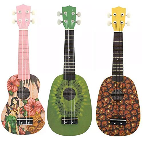Bjzxz Guitar 21-inch Basswood 4 String Instruments Soprano Ukulele Beginners Lightweight Kiwi and Pineapple Flower Girl…