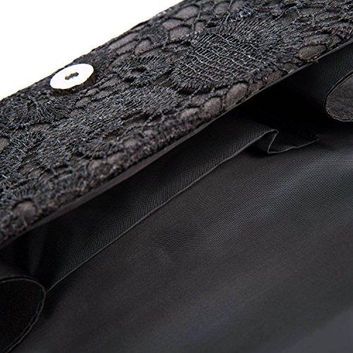 Mujer Satén Encaje Bolsas De Flores De Boda Bolso Nupcial De Partido Fiesta Noche Embrague Carteras,Azul Oscuro Negro