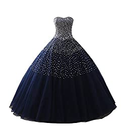 Dark Blue Women's Sequins Evening Ball Gown